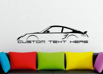 Large Custom car silhouette wall sticker - for Porsche 911 Turbo, 997 (2005–2012)